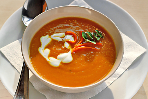 puree of carrot soup with curry and ginger recipe with pictures, cream of carrot soup recipe with pictures